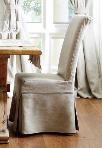 Set Of 2 Natural Linen Slipcovered Dining Chairs