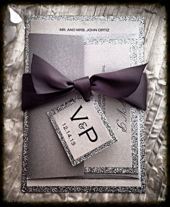 Silver Glitter Wedding Invitation with monogram belt by VPElegance