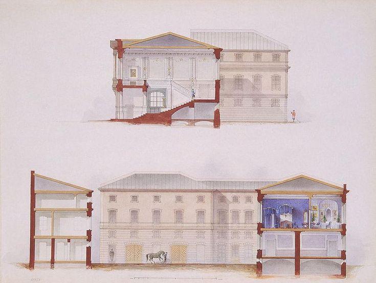 Файл: Mayblum Дж. - дворец графа PSStroganov - план фасада и раздел, 1865.jpg