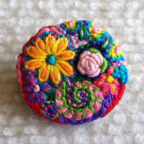 Freeform embroidery circle brooch bright floral brooch106