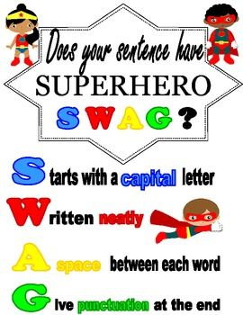 Superhero Anchor Chart and Writing Rubric