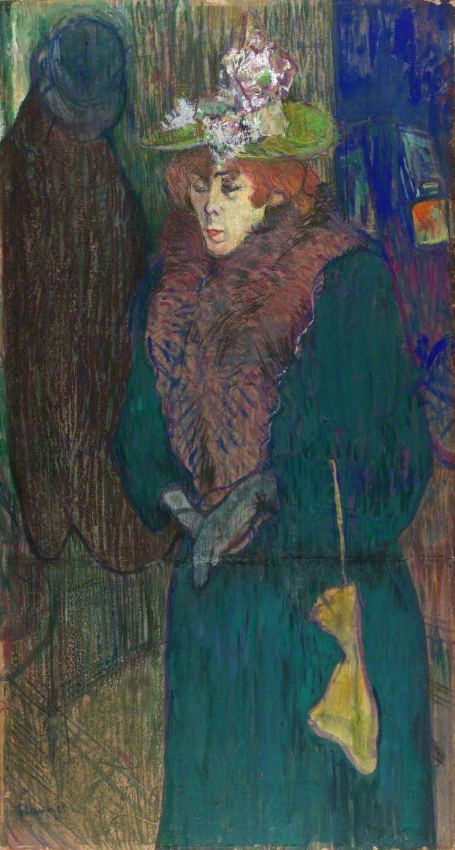 "centuriespast: "" Jane Avril in the Entrance to the Moulin Rouge, Putting on her Gloves Henri de Toulouse-Lautrec (1864–1901) The Courtauld Gallery """
