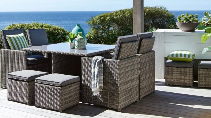 Mours 9 Piece Outdoor Dining Setting Outdoor Dining