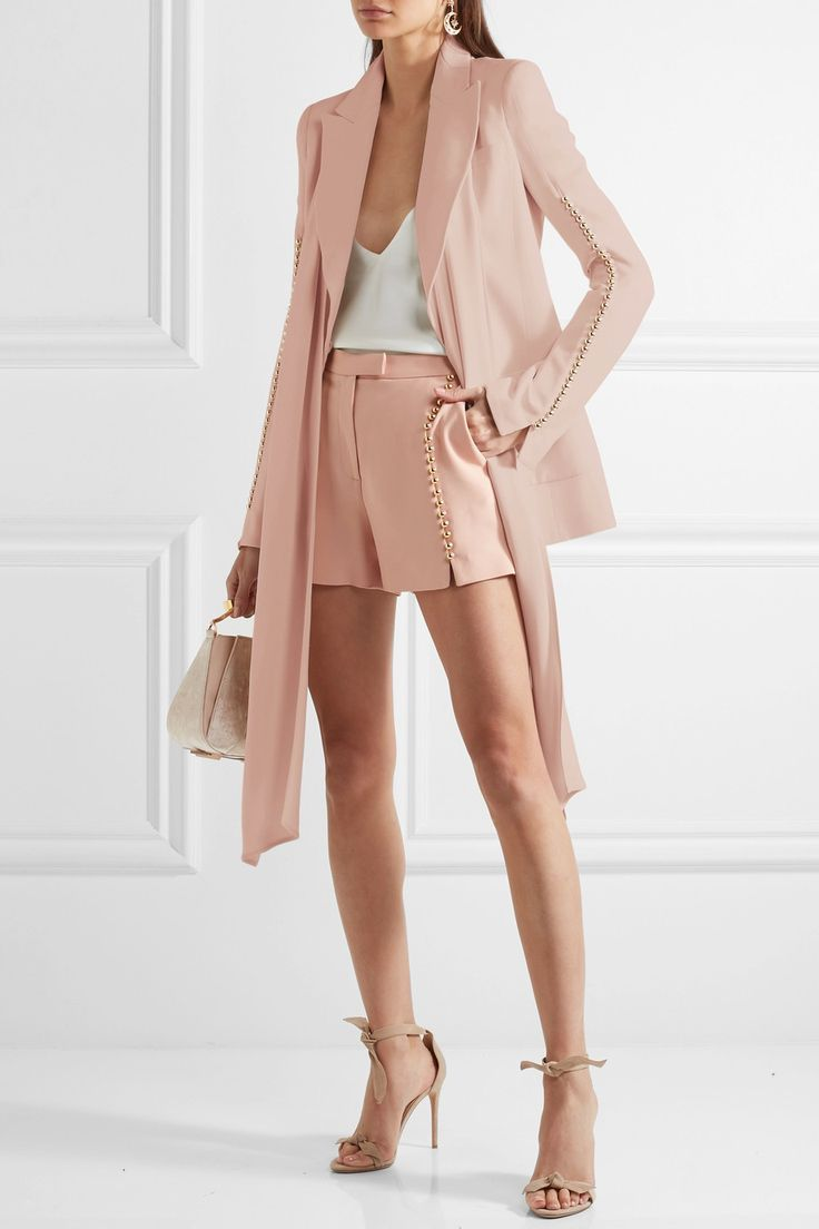 ELIE SAAB Nude embellished crepe blazer with skorts. Ladies slay this look for early fall.