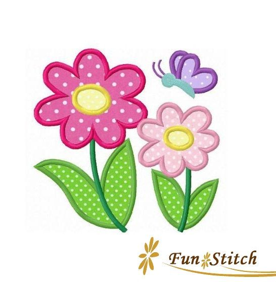 Daisy flowers butterfly applique machine embroidery design