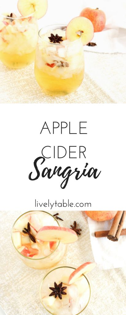 Festive sparkling apple cider sangria is a delicious cocktail to serve this fall! It's great for Thanksgiving or girl's night and a great use for fall apples! via livelytable.com