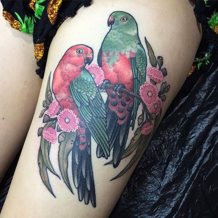 "eddy-lou-tattoos: ""I really loved doing this one of a pair of Australian King Parrots a few months back @flttattoostudio ❤️ "" Eddy Lou"