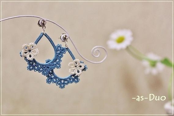 blue tatting earrings