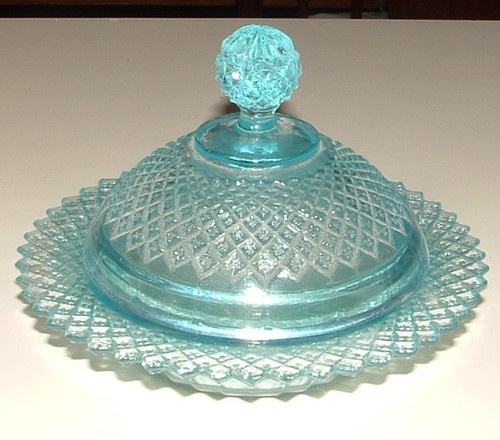 *DEPRESSION GLASS ~ Ice Blue Miss America Butter Dish Lid