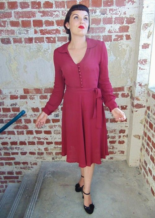 Seamstress of Bloomsbury Clarice 40's Jurk Wijn wine red dress