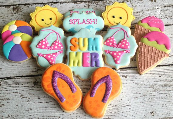Summer Beach Pool Themed Decorated Sugar by DolceCustomCookies