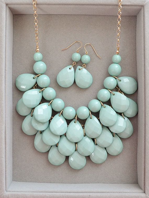 Hottest Wedding Color Mint - Teardrop Statement Necklace