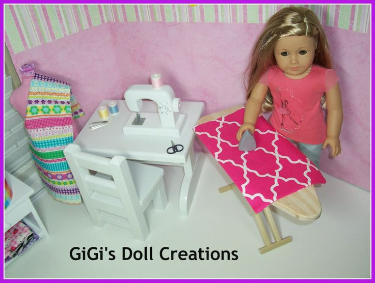 GiGI's Doll Creations: tutorial o n creating a sewing room for American Girl doll or other 18 inch dolls. Sewing machine, iron and ironing board.