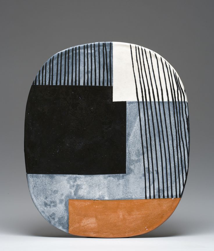 Jun Kaneko, multi-talented ceramic artist, made this clay art deco plate. Whether it was his tiles, his plates or his enormous Dangos, he is one of the preeminent clay artists of our time.