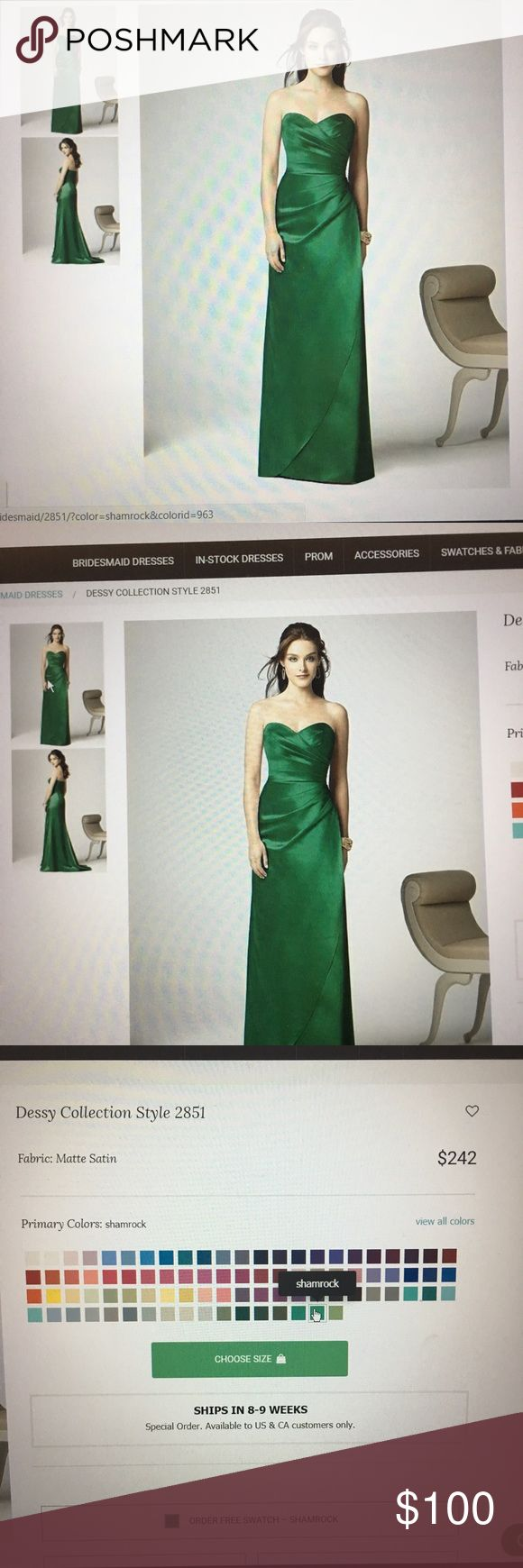 "Dessy Collection Style 2851 - extra long Coming soon! Wore this once for a jewel themed wedding. Gorgeous Shamrock green 🍀ordered it with extra length since I'm 5'7"" Will post more pics once I've had a chance to pull it out of the closet. Reasonable offers accepted Dessy Dresses Wedding"