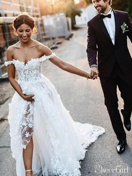Off the Shoulder Lace Beach Wedding Dresses Rustic Boho Wedding Dress AWD1435