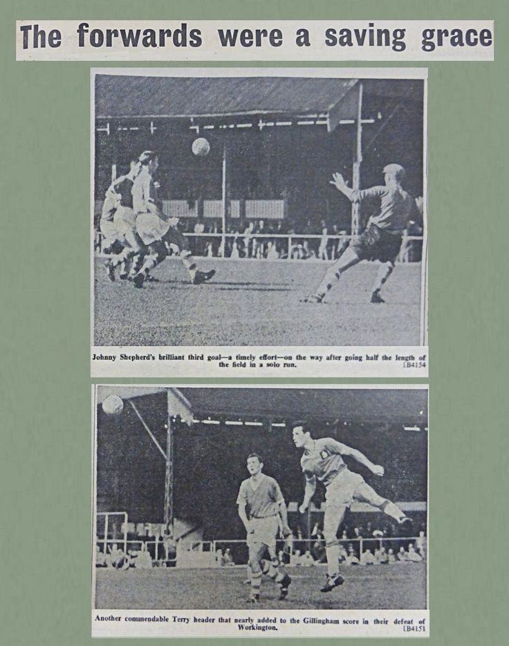 Gillingham 4 Workington 2 in Aug 1960 at Priestfield Stadium. Action from the Division 4 clash.