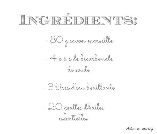 ingrédients lessive homemade maison savon