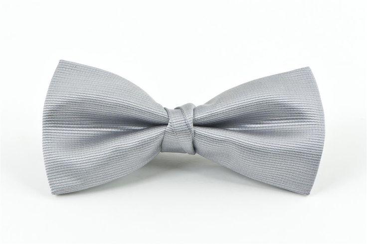 Silver Self Stripe Bow Tie