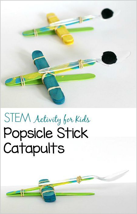 Science / STEM / STEAM for Kids: How to Make Craft Stick Catapults- Design catapults for launching pompoms or marshmallows using popsicle sticks! ~ BuggyandBuddy.com