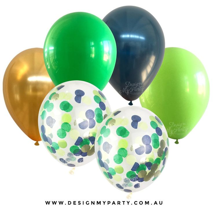Jungle Glam Mix Green, Navy, Gold with 2 Confetti Balloons (12 Pack)