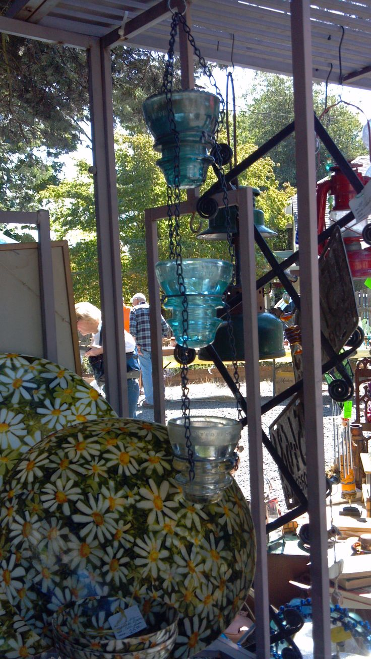 Rain Chain Made Out Of Antique Glass Electric Insulators