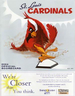 St. Louis Cardinals score card