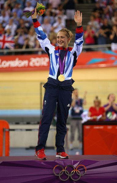 Laura Trott Photos - Gold medallist Laura Trott of Great Britain celebrates…