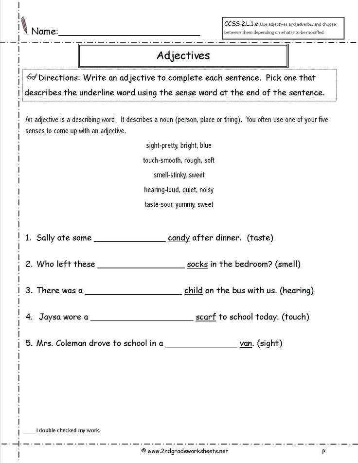 Adjectives Activities for 1st Grade Adjectives Worksheets