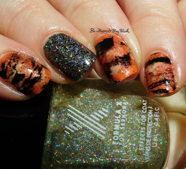 Tiger Stripe nail art manicure with Formula X Oh! Zone, Naughty Newton, Sinful Colors Coco Bae, Polish 'M The Great Pumpkin | Be Happy And Buy Polish