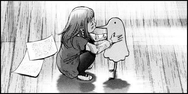"""Goodnight Punpun"" by Inio Asano. The main character is drawn really crude and simple, but everyone else looks like a normal manga character. In the story, this is used so the reader identifies with the character more, since you dont know what he really looks like."
