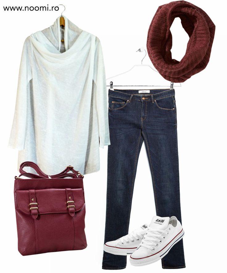 Tinuta de weekend cu blazer-ul din jerse alb creat de Noomi si un strop de marsala. Pentru duminici agitate.