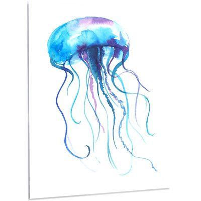 "DesignArt 'Large Light Blue Jellyfish' Print of Painting on Metal Size: 28"" H x 12"" W x 1"" D"