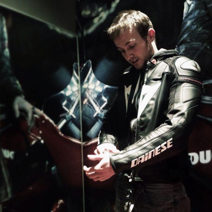 Portland Ducati shop Motocorsa. Dainese leather jacket
