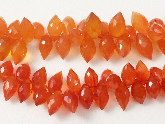 Carnelian Beads Carnelian Faceted Puffed Marquise by gemsforjewels