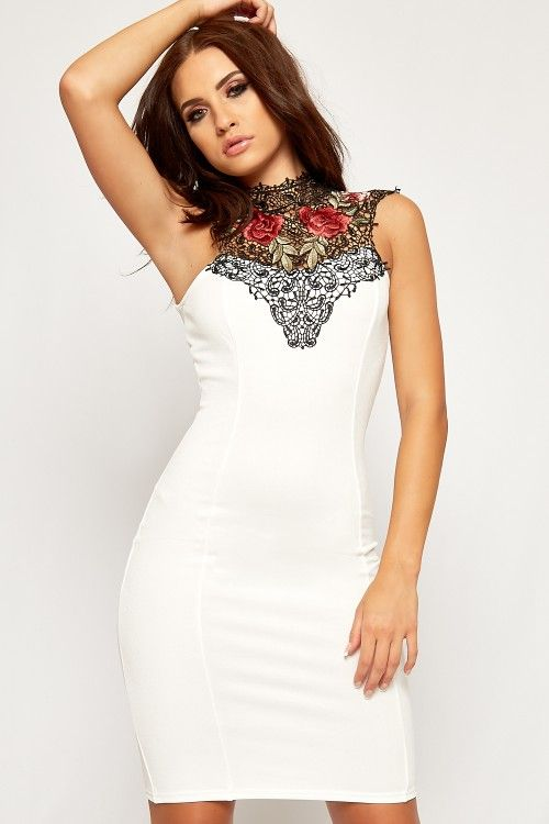 Clare Floral Embroidered Lace Tie Back Bodycon Dress