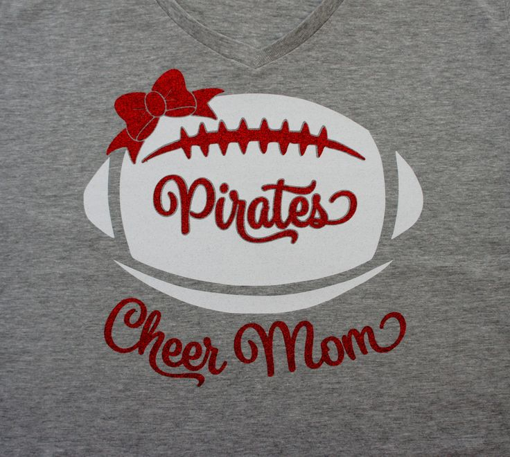 Custom Cheer Mom Shirt with Football Bow, Long Sleeve, Hoodie, Sweatshirt - customize for team name (Pirates shown). Glitter Cheer Mom Shirt by GlitterMomz on Etsy