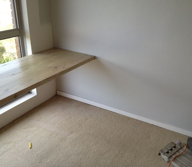 Making sure the table fits in the office! Testing the new grey walls with white skirting boards too!