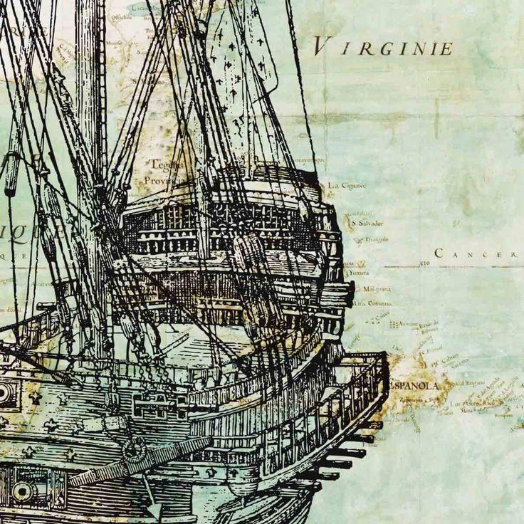 Old vessel on antique map of East Coast  America Wall Art Print, Matte 8x10 Print, vintage sea map art print. $13.50, via Etsy.