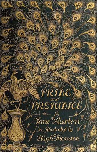 """The cover of an 1894 edition of Jane Austen's novel designed by Hugh Thomson (1860–1920). The so-called """"Peacock Edition"""" is illustrated throughout. read it on archive.org at http://www.archive.org/stream/prideprejudice00aust#page/10/mode/2up"""