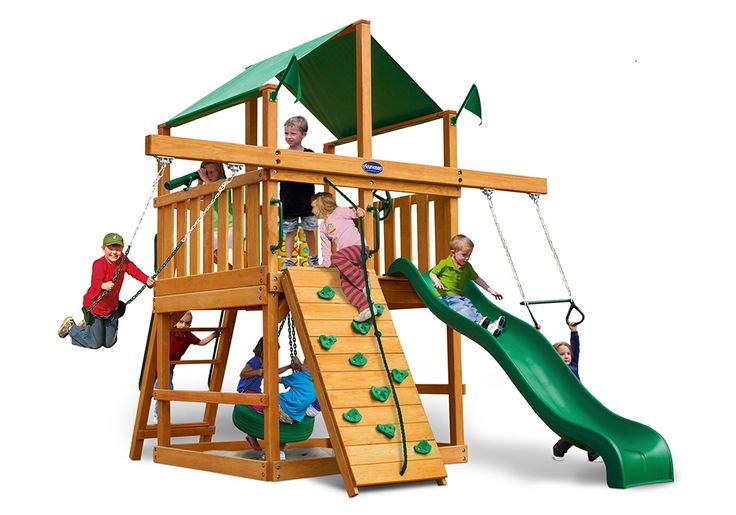 Royal Palace Space Saver Wood Swing Set - Kid's Wooden Swing Sets