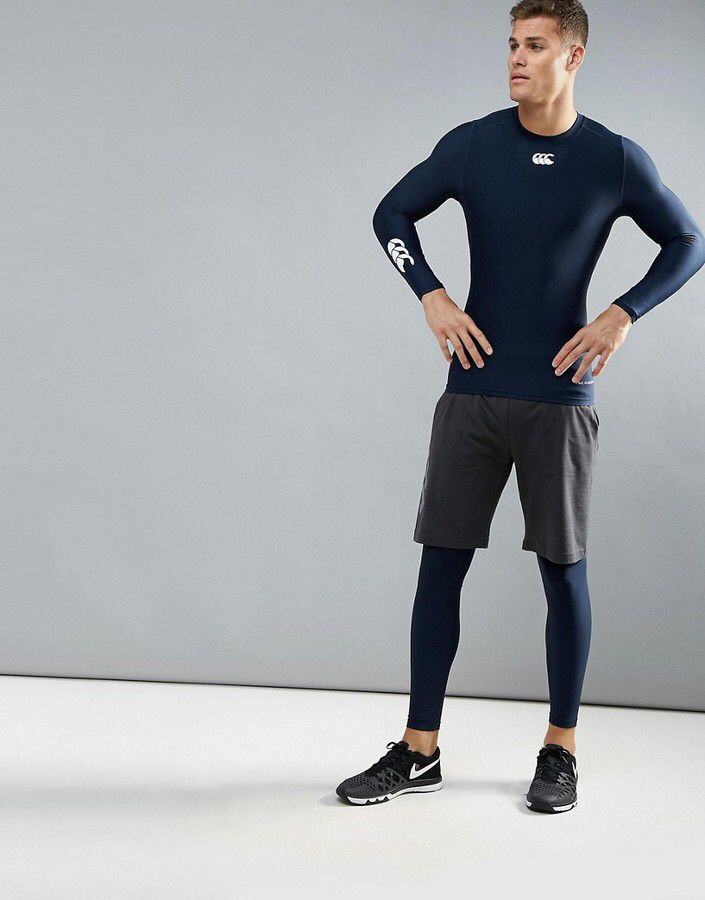 official photos 19fa6 0d77c Canterbury Of New Zealand Canterbury Thermoreg Baselayer Long Sleeve Top In  Navy, cold weather compression shirt, running shirt, jogging shirt, ...