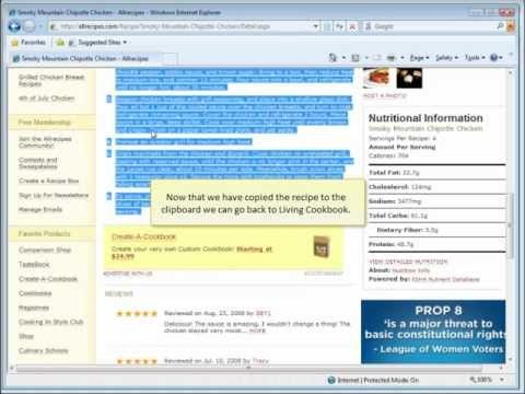 How to use Living Cookbook Recipe Software to copy recipes from the Internet - YouTube