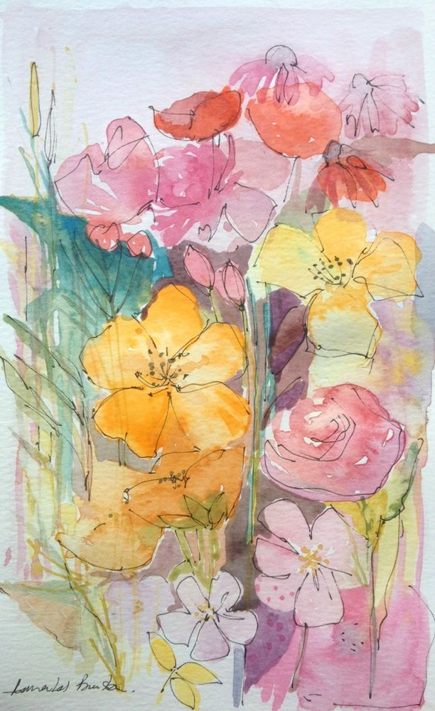 Original Watercolour Painting - Florals with Drawing - Signed Annabel Burton