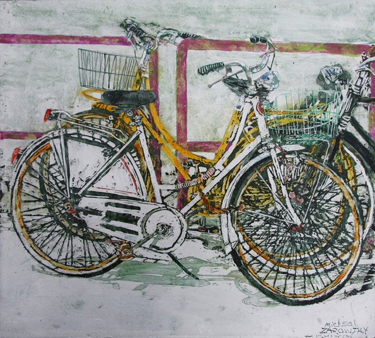 "lido bikes (25)  - 15"" x 16 1/2"" x 1 3/4""  micheal zarowsky / Mixed media (watercolour / acrylic painted directly on gessoed birch panel) Available $500.00"
