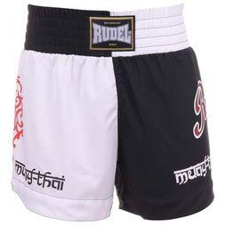 Short Muay Thai Mt4 Rudel - Preto+Branco