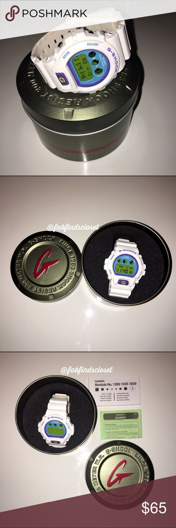 G-Shock water resistant digital watch White G Shock watch used a hand full of times. In working condition. Selling to get a different style. Comes with original box and booklets. No trades. G-Shock Accessories Watches