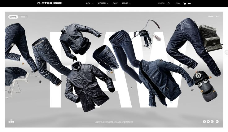 G-Star New Denim Arrivals by Cartelle & G-Star RAW. July 31, 2014. #webdesign #inspiration #UI #SOTD