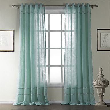 Marvelous Curtains   Sheer Curtains   ( One Panel ) Mediterranean Light Blue Solid  Pattern Cotton Sheer