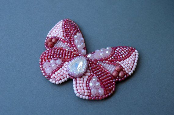 Bead embroidery butterfly brooch. Ready to ship от XeniaArtStudio
